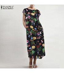 zanzea para mujer vestidos largos de la playa para señoras floral del verano del vestido maxi del tamaño extra grande -negro