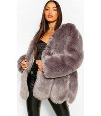 tall faux fur jas, light grey