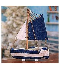 wood decorative accent, 'charming sailboat' (indonesia)