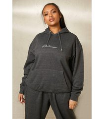 plus gerecyclede geborduurde woman hoodie, charcoal