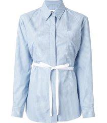 mm6 maison margiela striped belted shirt - blue