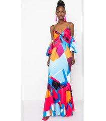 akira abstract print geo satin maxi dress