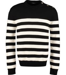 balmain striped wool pullover