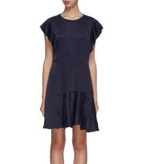 ruffle panelled satin dress