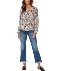 nydj amelia printed v-neck blouse