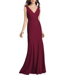 women's dessy collection crepe trumpet gown, size 18 - burgundy