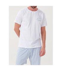 pijama masculino de algodão com bermuda listra - ref 30041 branco