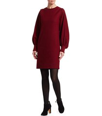 puff-sleeve wool flannel shift dress