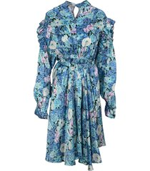 balenciaga floral belted ruffled dress