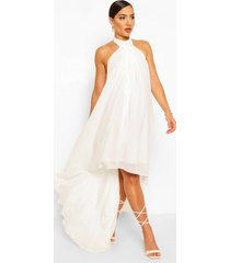 halter neck high low maxi dress, white