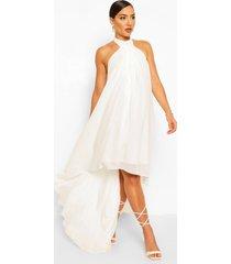 halter neck high low maxi dress, white