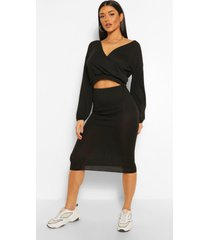 soft rib wrap over button top and midi skirt, black