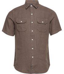 shirt overhemd met korte mouwen bruin replay