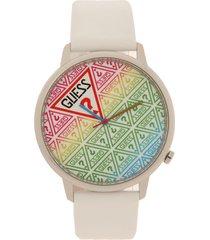 reloj blanco-plateado guess