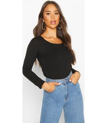 basic round neck long sleeve top, black