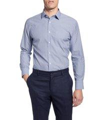 men's big & tall nordstrom men's shop smartcare trim fit stripe dress shirt, size 18 - 36/37 - blue