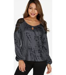 grey contrast printed lace insert long sleeves curved hem casual t-shirt