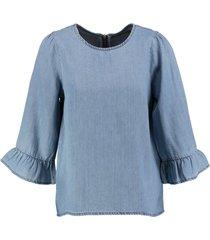 vero moda lyocell denim blouse 3/4 mouw