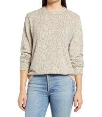 women's loveappella snake print crewneck sweater, size large - beige