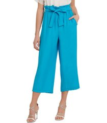 dkny solid pull-on belted wide-leg pants