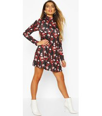 floral high neck puff sleeve swing dress, black