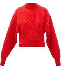 megève cropped ribbed-knit wool sweater