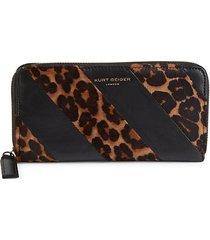 k-stripe leopard-print calf hair wallet