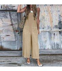 zanzea jumpsuit holgado de verano para mujer mameluco mono largo para mujer pantalones largos (no incluye la camisa) -caqui