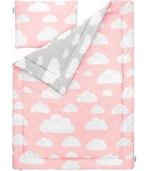 pościel dla dzieci 100x135 chmurki pink & grey