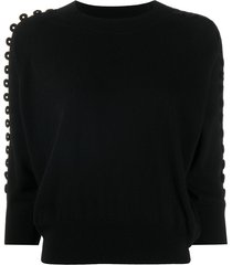 see by chloé embroidered 3/4 sleeve sweater - black