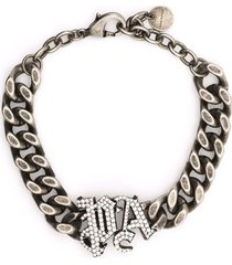 palm angels woman silver chain bracelet with jewel monogram