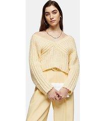 buttermilk knitted v fluffy crop sweater - buttermilk