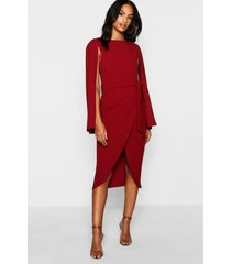 tall cape tailored belted midi dress, wine