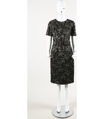 michael kors collection metallic floral print belted dress