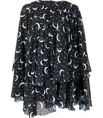 semsem x ramadan moon and star print kaftan top - black