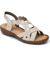 60865-14 shoes summer shoes flat sandals beige rieker