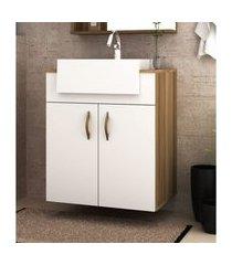 gabinete banheiro suspenso nogal e branco mdf lilies móveis