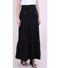 saia de sarja feminina mindset longa com recortes e cinto preta