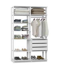 closet com 3 gavetas e 1 cabideiro branco lilies móveis
