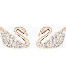 orecchini swan, bianco, placcato oro rosa