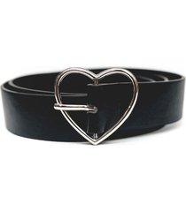 cinturon hebilla de corazón negro guinda
