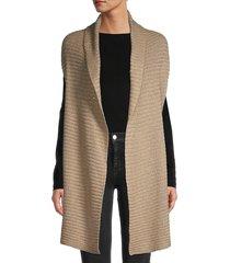 donna karan women's embellished sleeveless cardigan - fawn heather - size xs/s