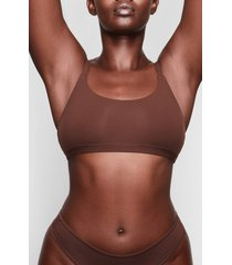 women's skims fits everybody scoop neck bralette, size xx-small - brown