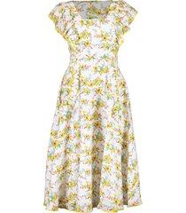 ruffle sleeve daisy print midi dress