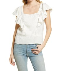 women's faherty mariposa linen flutter sleeve top, size x-large - white