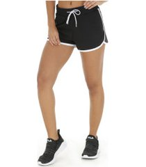 shorts fila pia - feminino - preto/branco