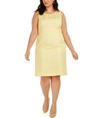 kasper plus size sleeveless houndstooth-print dress