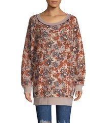 raglan-sleeve floral-print sweater