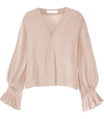 women's pleated sleeve v-neck blouse