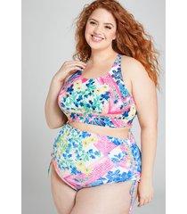 lane bryant women's high-waist drawstring swim brief 24 patchwork